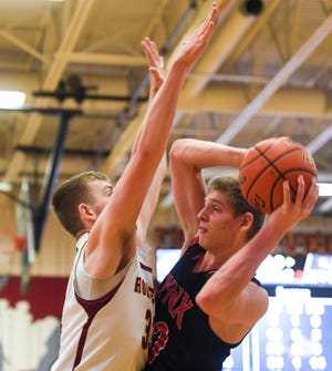 Brandon Valley's Gavin Terhark (40) goes up for a basket during the game against Roosevelt on Tuesday, Jan. 14, 2020 at Roosevelt High School.