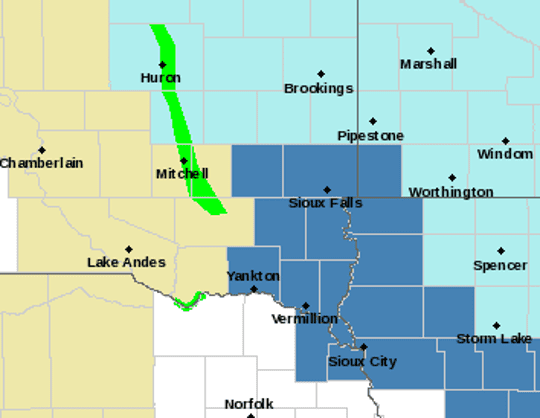 Areas in southeastern South Dakota are under a winder storm watch between Friday morning and Saturday afternoon, according to the National Weather Service in Sioux Falls.