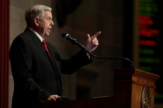Missouri Gov. Mike Parson delivers the State of the State address Wednesday, Jan. 15, 2020, in Jefferson City, Mo.