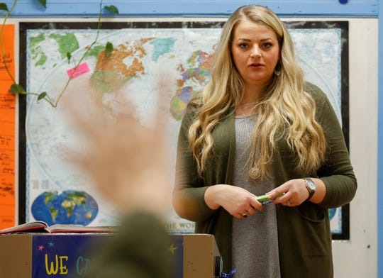 Tiffany Gladden, a teacher with the Everton School District, calls on a student during class on Tuesday.