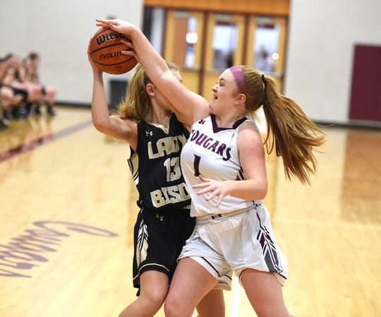 Stuarts Draft's Madi Armentrout works to defend Buffalo Gap's Ava Cline Tuesday night, January 14, in a Shenandoah District basketball game.