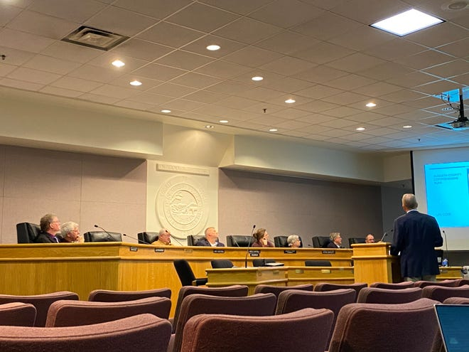 Augusta County Planning Commission members on Jan. 15, 2020, listen to William Park describe his company's plan to provide affordable senior housing to the area.