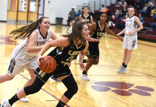 Buffalo Gap's Claran Massie drives into the lane Tuesday night, January 14, in Shenandoah District basketball action.