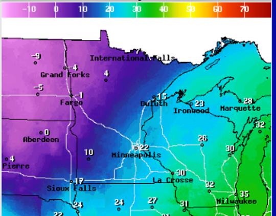 Frigid air is sweeping in from the Dakotas