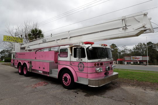 The pink fire truck that sits in front of Universal Collision on Appalachee Parkway was set ablaze Tuesday night, Jan. 14, 2020. The incident is suspected to be caused by an arsonist. The truck was named 'Ariel'in honor of a teenage girl who died of liver cancer at age 18, roughly two years after she was diagnosed.