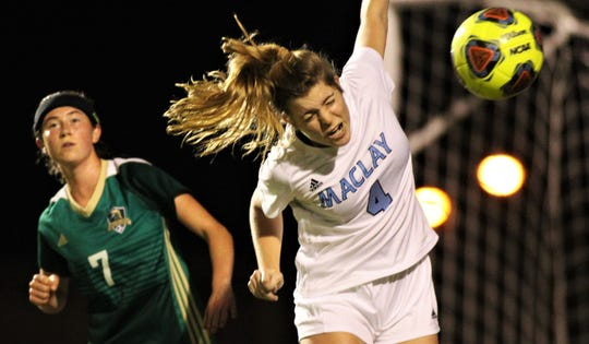 Maclay junior defender Ramsay Grant heads away a ball as Maclay's girls soccer team beat Lincoln 2-1 at Chiles High on Jan. 14, 2020