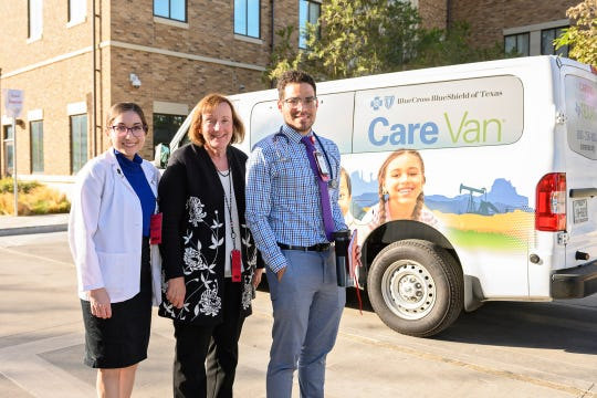 Texas Tech University Health Sciences Center El Paso received a Care Van to provide health care services in low-income communities. From left to right are: Liliana Bonilla, a third-year medical student; Dr. Maureen Francis, assistant dean for medical education of the Paul L. Foster School of Medicine; and Franz Puyol, a fourth-year medical student.