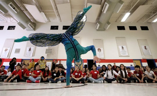 Cirque du Soleil performers Svetlana Delous and Devin Debianchi visited El Paso on Jan. 14, 2020, to promote the upcoming performance of Ovo at the Don Haskins Center on March 12-15. Delous plays Red Spider and Debianchi plays Dragonfly in the high-flying performance.
