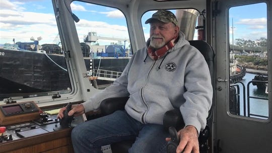 This is Capt. Mike Fullilove at the helm of the Teresa Brusco at the Port of Hueneme.