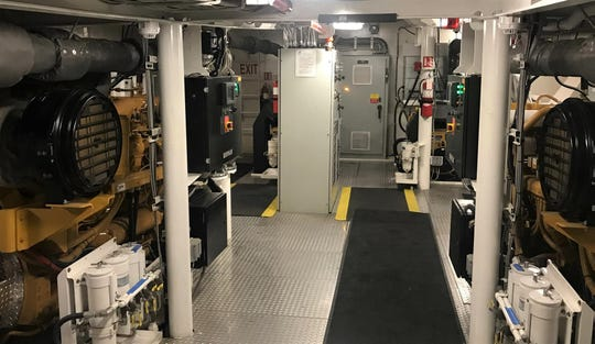 This is the state-of- the art engine room aboard the Teresa Brusco.