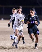 Tulare Union's Jesus Enriquez advances against Mission Oak in a boys soccer match on Tuesday, January 14, 2020.