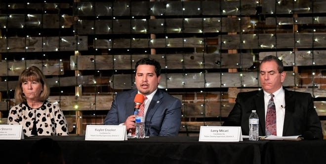 Tulare County Board of Supervisors District 1 candidates Robyn Stearns, Kuyler Crocker and Larry Micari participate in a forum ahead of the March 3 election.