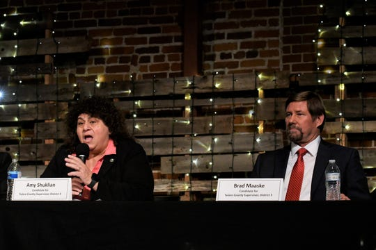 Candidates for Tulare County Board of Supervisors District 3, Amy Shuklian and Brad Maaske, participate in a forum ahead of the March 3 election.
