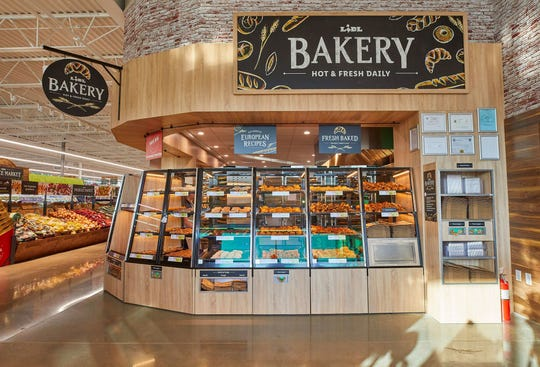The bakery section in a Lidl grocery store.