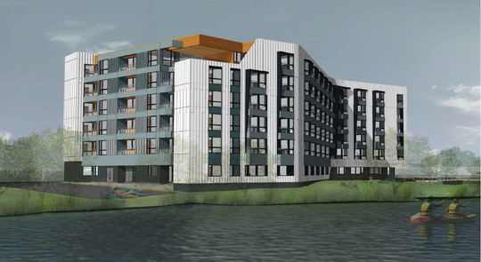 An artist rendering of one of two apartment buildings planned to be built along the Christina River in South Wilmington.