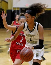 Rider's Jalynn Bristow dribbles in the game against Wichita Falls High Tuesday, Jan. 14, 2020, at Rider.