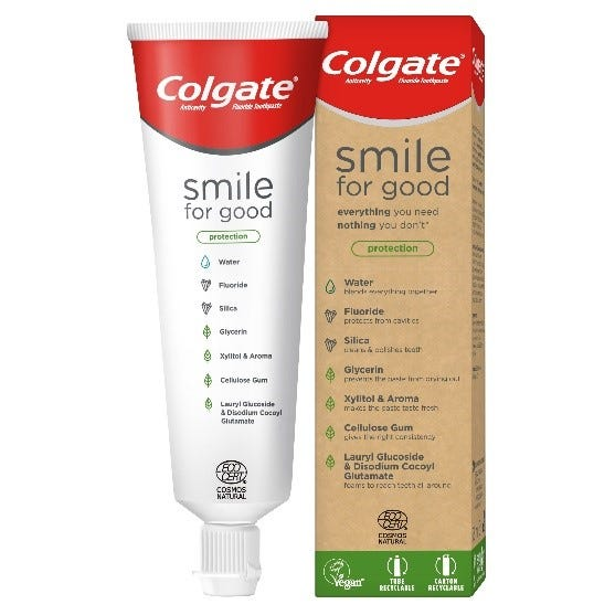 "Colgate says the toothpaste comes in a ""first of its kind"" recyclable tube."