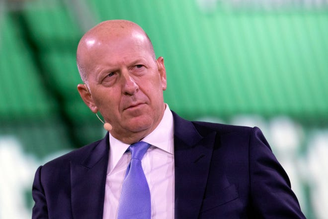 In this Sept. 25, 2019, file photo David Solomon, Chairman and CEO of Goldman Sachs, speaks at the Bloomberg Global Business Forum in New York.