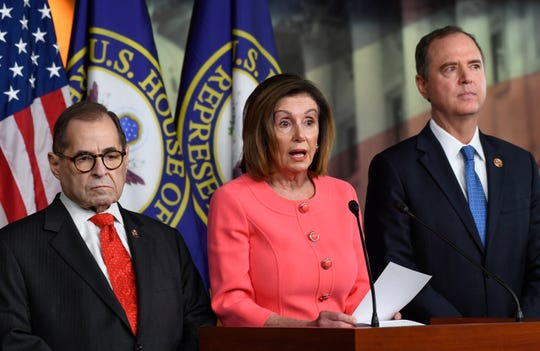 House Speaker Nancy Pelosi announces House managers for the impeachment of President Trump alongside House Judiciary Committee Chairman Jerrold Nadler, left, and Intelligence Committee Chairman Adam Schiff on Jan. 15, 2020.