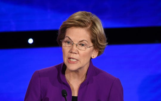 Democratic presidential hopeful Massachusetts Senator Elizabeth Warren speaks during the seventh Democratic primary debate of the 2020 presidential campaign season co-hosted by CNN and the Des Moines Register at the Drake University campus in Des Moines, Iowa on January 14, 2020.