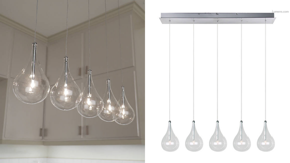 This suspension light features five to nine bulbs.