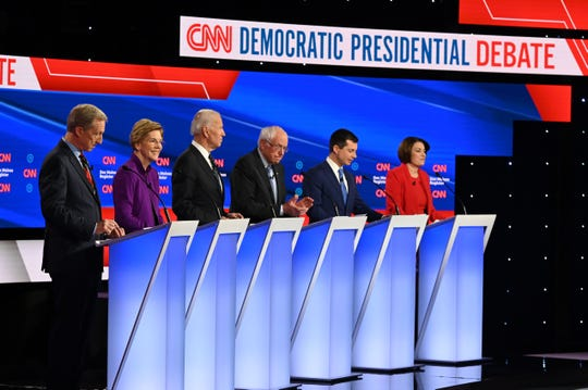 The Democratic presidential debate in Des Moines, Iowa,  on Jan. 14, 2020.
