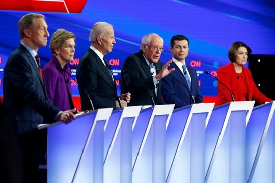Democratic presidential candidates during a Democratic presidential primary debate.