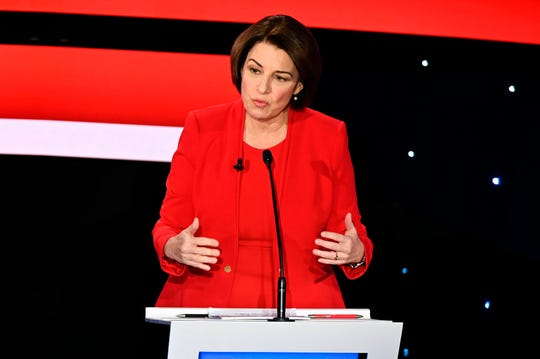 Democratic presidential hopeful Minnesota Senator Amy Klobuchar participates of the seventh Democratic primary debate of the 2020 presidential campaign season co-hosted by CNN and the Des Moines Register at the Drake University campus in Des Moines, Iowa on January 14, 2020.