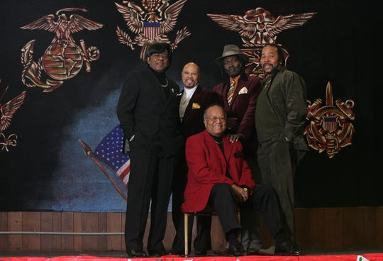 Members of The Broadways (L-R) Leon Trent, Dennis Anderson, Ronnie Coleman, Robert Conti and Billy Brown  pose for a group photo at the VFW Post 133 Friday January 14, 2011.