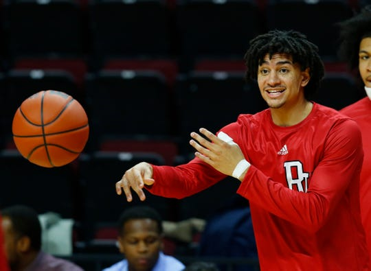 Rutgers Scarlet Knights guard Geo Baker (0) warms up before game against the Indiana Hoosiers