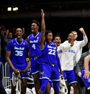 The Seton Hall Pirates bench erupts in the closing seconds of their game against the Butler Bulldogs. Seton Hall went on to defeat the Bulldogs , 78-70 at Hinkle Fieldhouse.