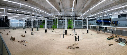 A panoramic picture of the interior of the Dodge Jones Youth Sports Center, now in the final stages of construction, Wednesday.