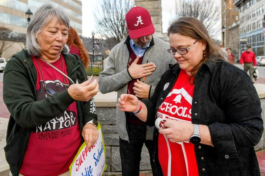 "Area teachers, parents and students participated in the ""Our Schools Deserve Funds Now"" protest at Vance Memorial in downtown Asheville January 15, 2020. The rally was organized by the Asheville Association of Educators."