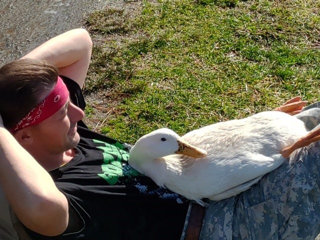 James Hewitt and a new lake resident relaxing on a 70-degree day at Lake Tomahawk.