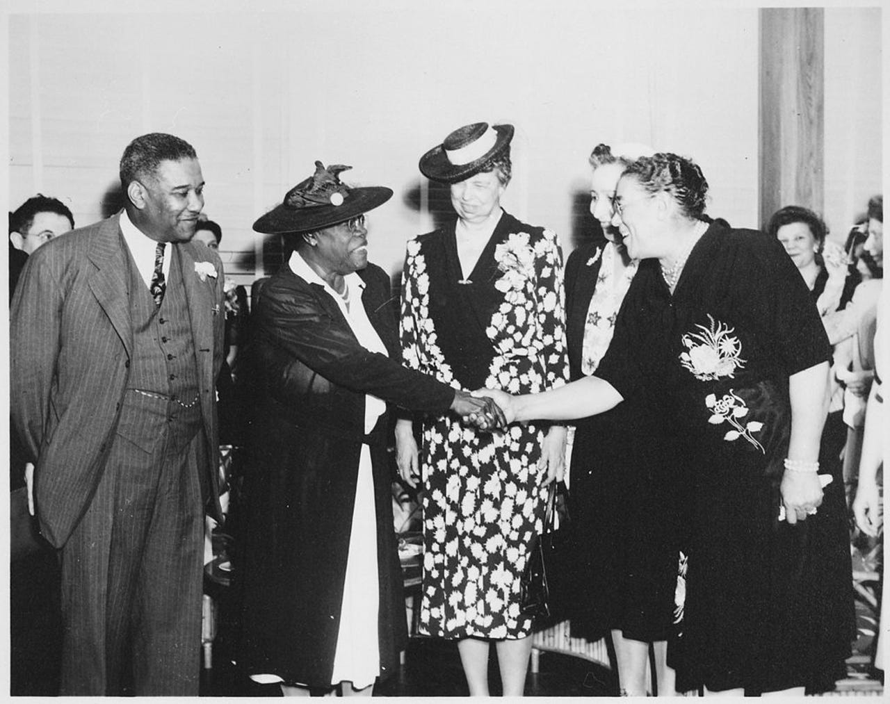 Mary McLeod Bethune, second from left, co-founder of Bethune Cookman University, became friends with Eleanor Roosevelt, center, wife of President Franklin Roosevelt.