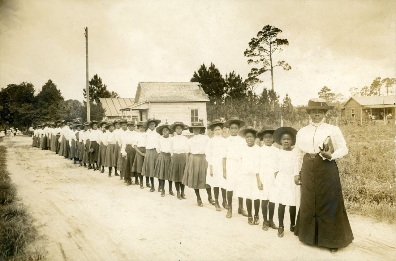 Mary McLeod Bethune with girls from the Literary and Industrial Training School for Negro Girls in Daytona, c. 1905.