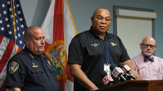 Left to right,  Chief Mike Cantaloupe, Mayor Jake Williams,Jr. and City Manager John Titkanich. A press conference was held at the Cocoa Police Department on Thursday afternoon to address the officer involved fatal shooting that took place Wednesday. Chief Mike Cantaloupe stated that the officer's actions likely saved the life of the woman the suspect was attacking with a large butcher knife.