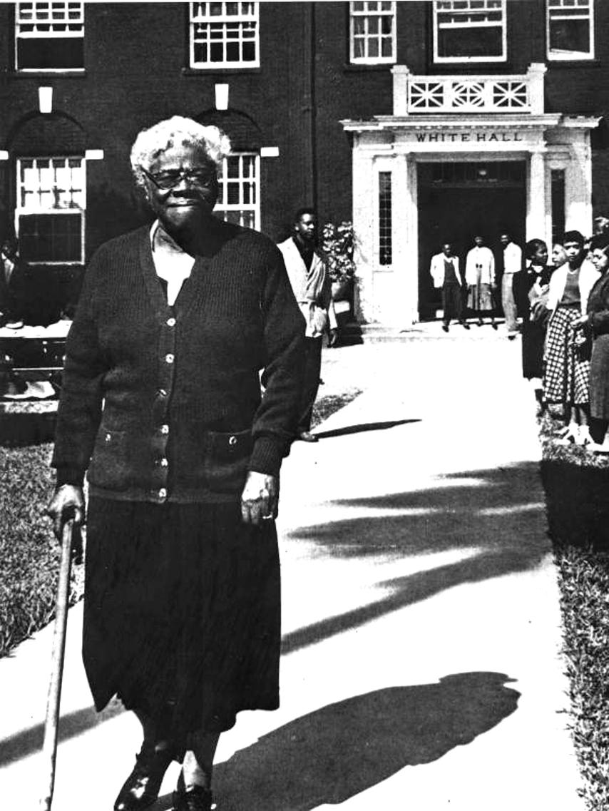 Mary McLeod Bethune outside White Hall at the heart of Bethune Cookman University. The office of the President is located inside White Hall.