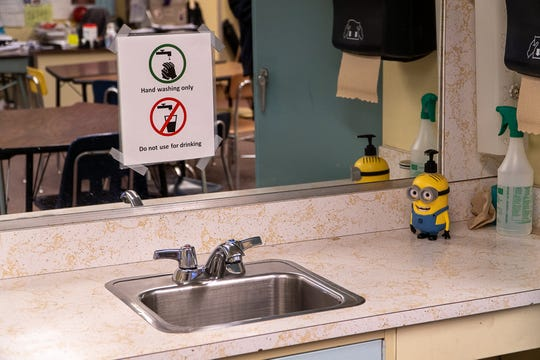 Don't drink until you're sure it's safe: Signs at a sink at Barre Town Elementary Middle School warn students and teachers to use the water only for hand-washing — at a time when high levels of lead were detected.