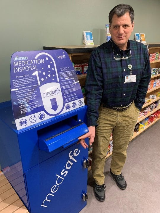 Mark DiParlo, director of pharmacy services at The University of Vermont Medical Center, says medication collection bins like this one at the outpatient pharmacy 1 South Prospect St. in Burlington are safe and anonymous.