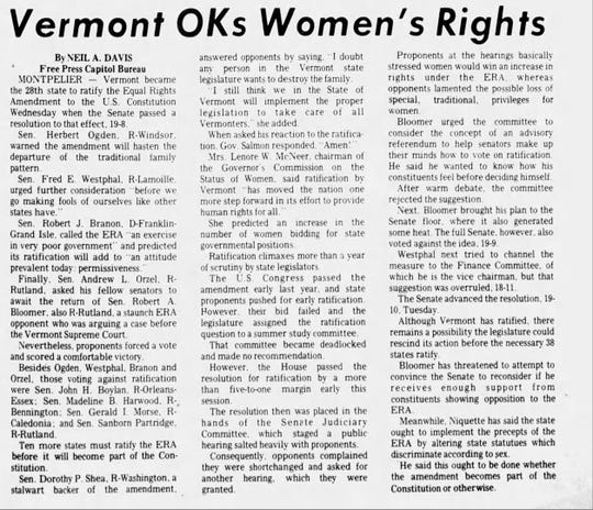 The Burlington Free Press reported Vermont's ratification of the Equal Rights Amendment on Feb. 22, 1973.