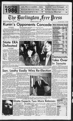 "Vermonters narrowly rejected the state Equal Rights Amendment, as seen on the front page of the Burlington Free Press on Nov. 5, 1986. As results rolled in, the Free Press published two versions of the front page; the early version ran with the headline ""ERA Tally in Doubt."""