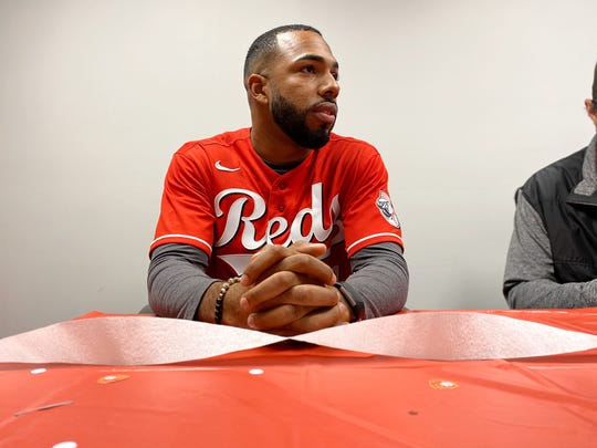 Reds minor league outfielderNarciso Crook met with local media members at WBEX Studio in Chillicothe, Ohio for the Reds Caravan Tour on Jan. 16, 2020.
