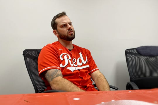 Reds infielder Mike Moustakas met with local media members at WBEX Studio in Chillicothe, Ohio for the Reds Caravan Tour on Jan. 16, 2020.