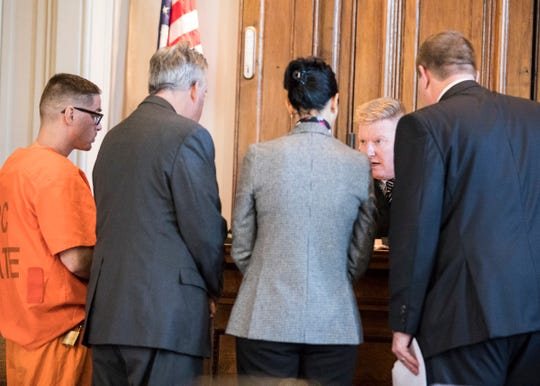 Ross County Common Pleas Judge Mike Ater privately meets with James Nelson and his lawyers and prosecution before he pleaded guilty on Jan. 16, 2020.