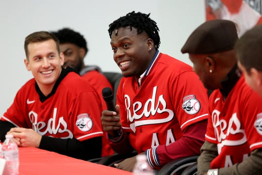 "Cincinnati Reds outfielder Aristides Aquino smiles after he's asked a question during a Reds Caravan stop, Thursday, Jan. 16, 2020, at the Boys & Girls Club of Clermont County. Aquino has earned the nickname ""The Punisher."""