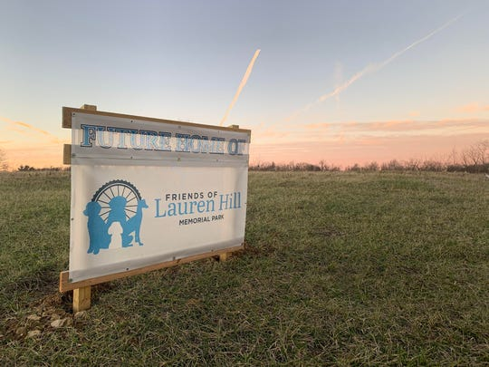 A sign marks the future home of the Lauren Hill Memorial Park in Greendale, Ind.