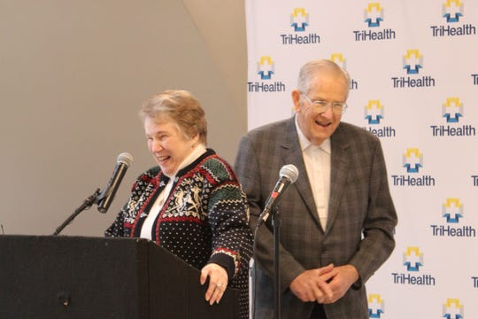 Eugenia Thomas and her husband Harold share a laugh at Thursday's ribbon-cutting for the Thomas Comprehensive Care Center. The new facility is next to Bethesda North Hospital in Montgomery. The couple gave $10 million for the construction, the price tag for which topped $80 million. Thursday also was Eugenia Thomas' birthday.