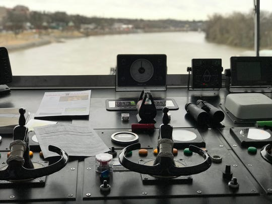The view of the Cumberland River from the helm of the American Duchess, docked in Clarksville.