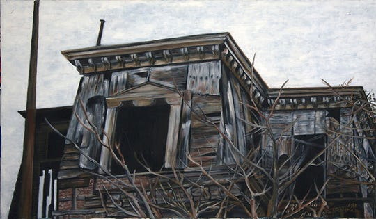"""""""Self Taught,"""" the paintings of Michele Guttenberg and Neil Besignano, will be on display at Hamilton Street Gallery in Bound Brook from Sunday, Jan. 19, through Thursday, Feb. 27. Pictured is""""Dilapidated Town Hall,"""" oil on canvas, byNeil Besignano."""